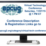 APCUG 2015 Fall Virtual Technology Conference (VTC)
