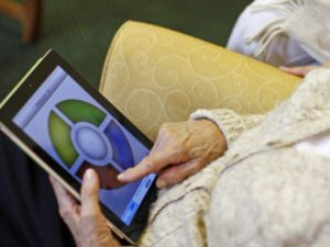 iPad used by person with dementia