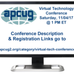 Free APCUG 2017 Fall Virtual Technology Conference (Vtc)